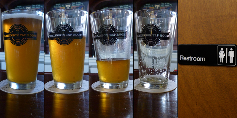5 panels. First 4 show the progression of a full glass of beer to an empty glass of beer. Last panel is a bathroom door.