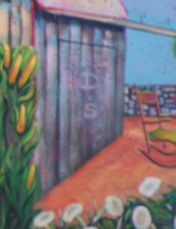 A section of Domonts' mural: On the door of an old Indiana barn, a D is etched over an S.