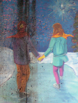 A portion of Domonts' mural: A bundled young man and woman hold hands as they skate over a frozen river and a snow-laden landscape.