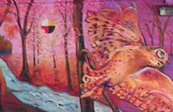 A section of Domonts' mural: Fall leavves fall from a forest of trees and an overlarge great horned owl flies through the landscape. In the trees, there is a circle cut into quarters colored white, yellow, red, and black to represent the sun.