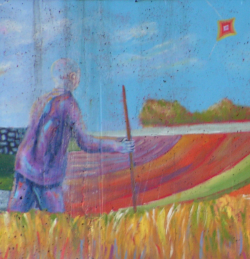 A portion of Domonts' mural: A man with a walking stick faces away from the viewer and walks through a vibrant wheat field seemingly towards the kite flown by an overlarge hand.