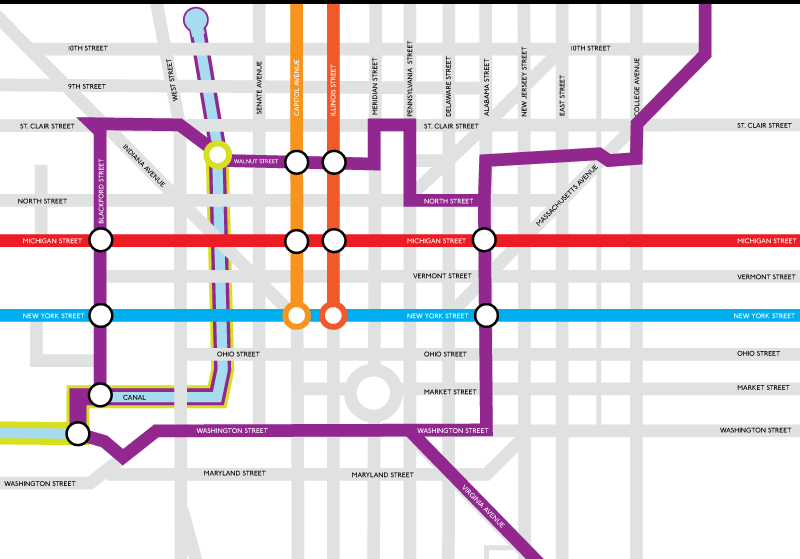 A downtown Indianapolis Bike Map done in the style of the London Underground maps.