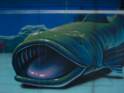 A section of Leck's mural: A gigantic green catfish sits on the bottom of the aquarium with his wide mouth open almost as if to eat the passersby.