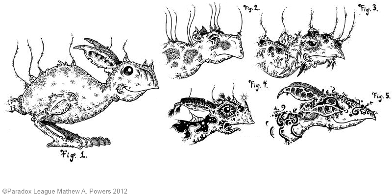 Mat Powers' fantastic creature, the Tab-mu, in a gathering of various sub-species. © 2012 Mathew Powers