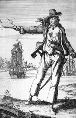An old sketch of Anne Bonny, one of only two known female pirates.