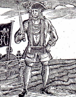 An old drawing of Bartholomew Roberts, best known as Black Bart.