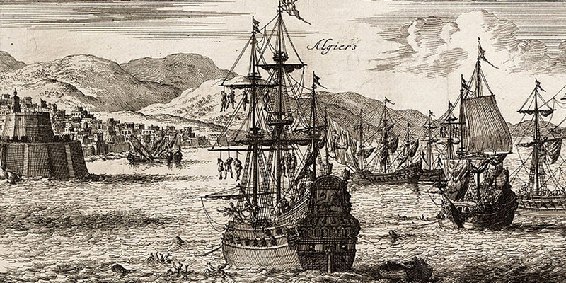 An old ink drawing of ships descending on a port town in Algiers.