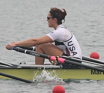 Jen Kaido rows in Olympic practice at Beijing 2008.