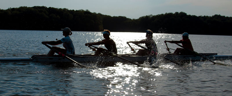 Jen Kaido rows in a four with some members of the Indianapolis Rowing Center Master rowers on Eagle Creek Reservoir.