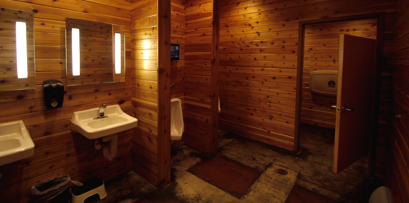 Looking into the bathroom, the photo frames sink and bathroom stalls. The room is completely wood paneled, vertical strips.