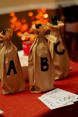 Our three wines are wrapped in a paper sacks and marks A, B, C.
