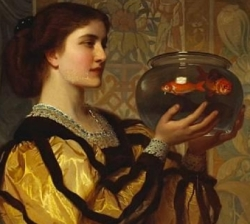 A painting of a woman holding a fish bowl. Perugini.