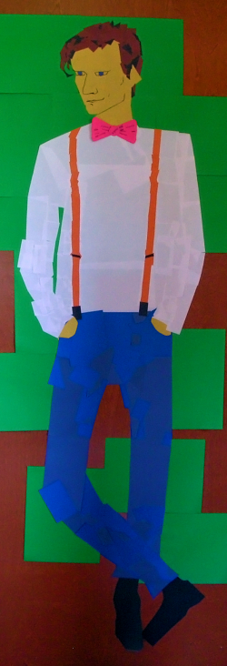 The Eleventh Doctor from Doctor Who, rendered expertly in construction paper by Nadia Fraley.